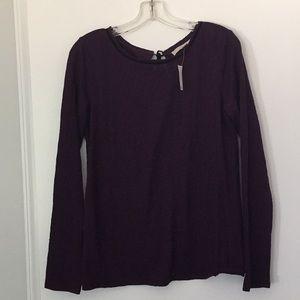 Dark purple lace top with black velvet neckline